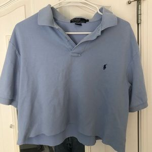 cropped polo blue